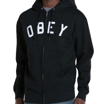 OBEY Hooded Zipper CORE ZIP black