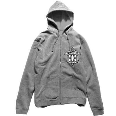 7TH LETTER Hooded Zipper CLIPPINGS heather grey