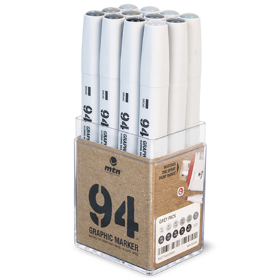 MTN 94 Graphic Twin Marker 12er Set Grey