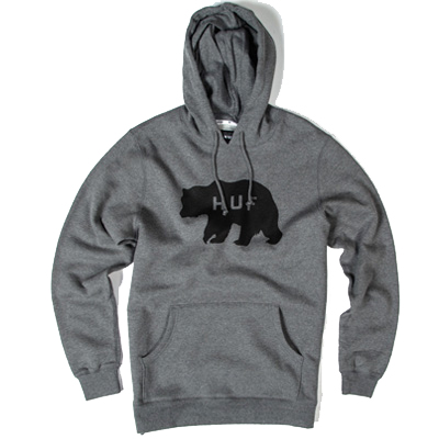 HUF Hoody BEAR LOGO heather grey