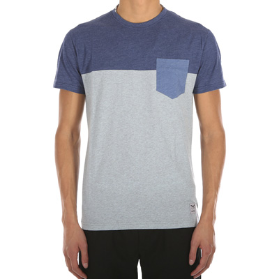 IRIEDAILY T-Shirt BLOCK POCKET mintgrey/blue
