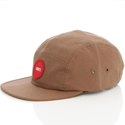 OBEY 5Panel Cap CIRCLE PATCH LOGO light brown