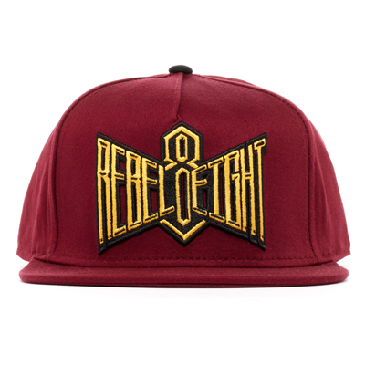 REBEL8 Snap Back Cap DOUBLE EDGE maroon/gold