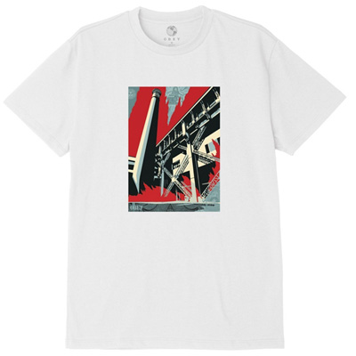 OBEY T-Shirt FOSSIL FACTORY white