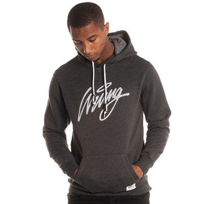 WRUNG Hoody FUNC SCRIPT dark heather grey