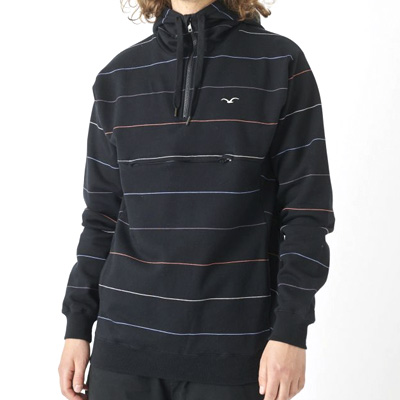 CLEPTOMANICX Half-Zip Hoody MULTI STRIPE black