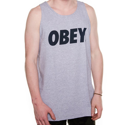 OBEY Tank Top OBEY FONT LOGO heather grey/navy