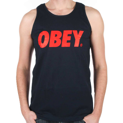 OBEY Tank Top OBEY FONT LOGO navy/red