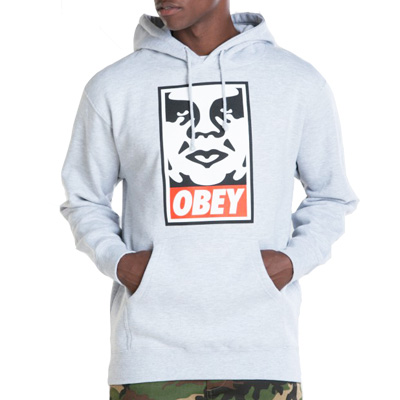 OBEY Hoody ICON FACE LOGO heather grey
