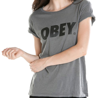 OBEY Girl Shirt OBEY FONT LOGO dusty graphite