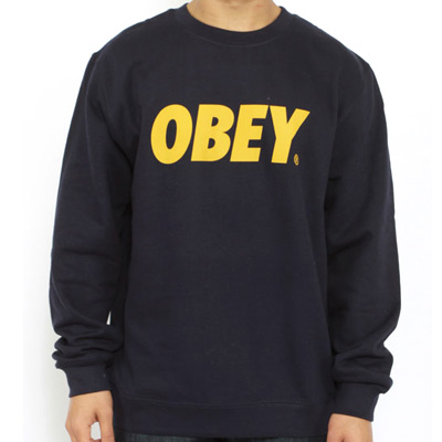 OBEY Sweater OBEY FONT LOGO navy/gold