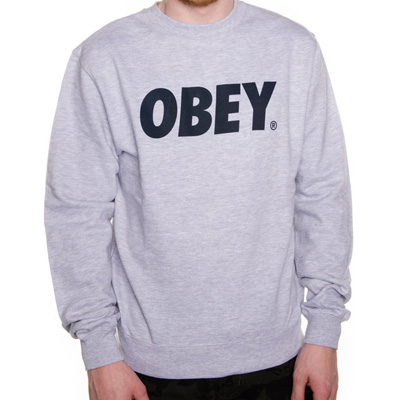 OBEY Sweater OBEY FONT LOGO heather grey/navy