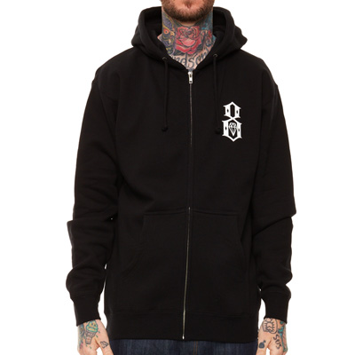REBEL8 Hooded Zipper LOGO black/white
