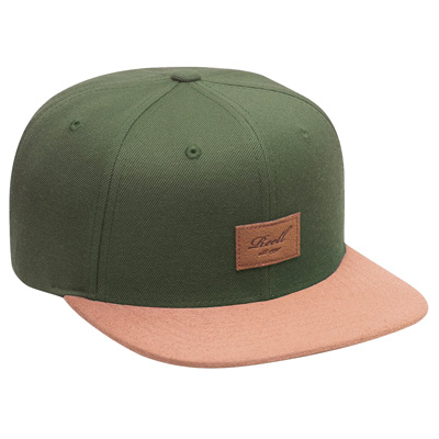 REELL Snap Back Cap SUEDE dark olive/leather