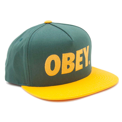 OBEY Snap Back Cap THE CITY LOGO forest/gold