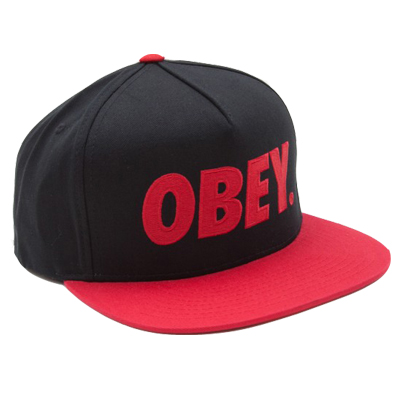 OBEY Snap Back Cap THE CITY LOGO black/red