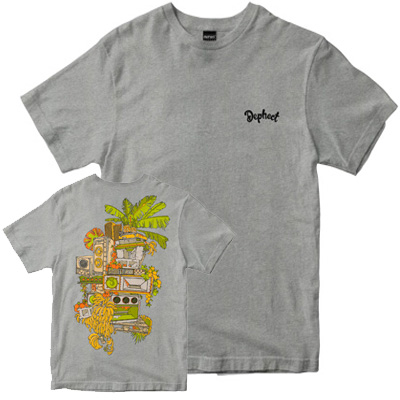 DEPHECT T-Shirt TROPICAL BEATS heather grey