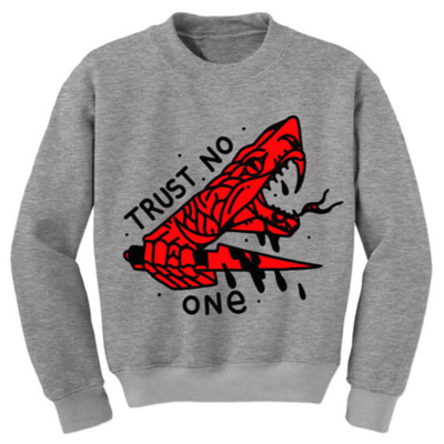 IGNORANT PEOPLE Sweater TRUST NO ONE heather grey