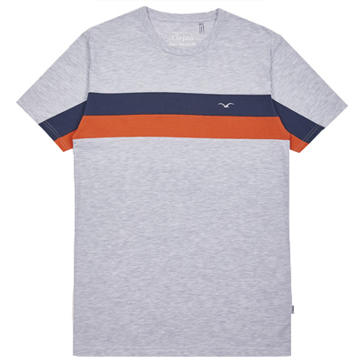 CLEPTOMANICX T-Shirt FASTER light heather grey/navy/red