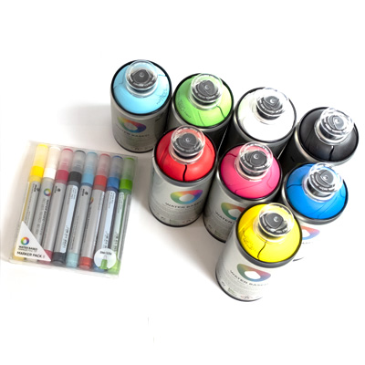 MTN WATER BASED Paint Marker 3mm 8er Set & 8 Spraycans