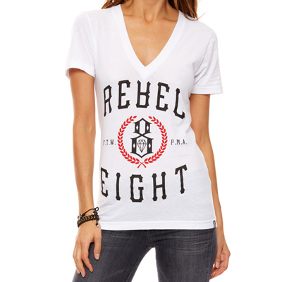 REBEL8 Girl V-Neck Shirt LAURELS white