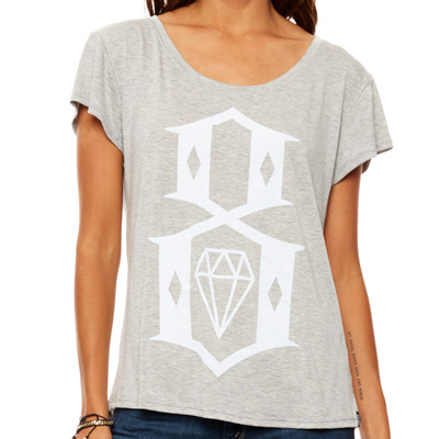REBEL8 Girl Shirt 8-LOGO heather grey/white