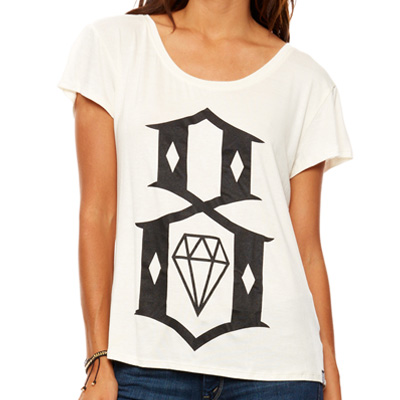 REBEL8 Girl Shirt 8-LOGO BOYFRIEND TEE white/black