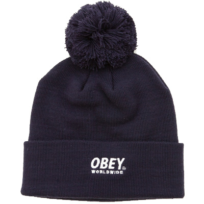 OBEY Beanie WORLDWIDE POM POM navy/white