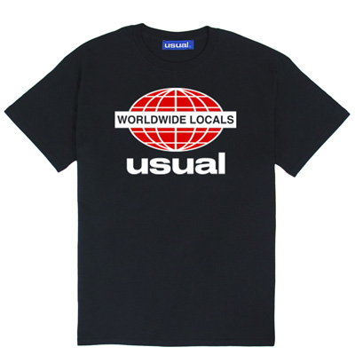 USUAL T-Shirt WORLDWIDE LOCALS black/red