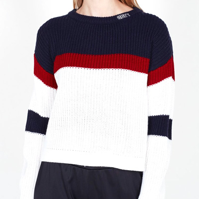 OBEY Girl Knit Sweater ALLIE STRIPED CROP navy/red/white