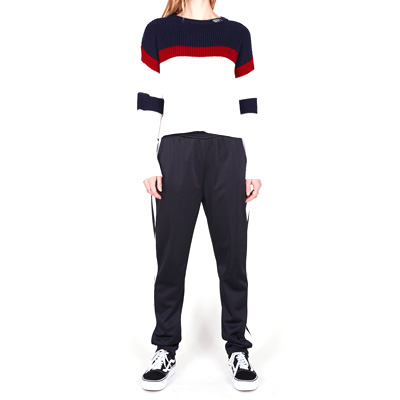 Obey Clothing - OBEY Girl Knit Sweater ALLIE STRIPED CROP navy red ... 76d8b3830