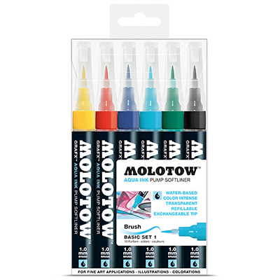 MOLOTOW GRAFX Aqua Ink Softliner 6er Set Basic 1
