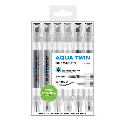 MOLOTOW Aqua Twin Marker 6er Set Grey 1