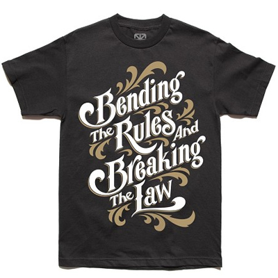 7TH LETTER T-Shirt BENDING THE RULES black