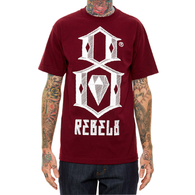 REBEL8 T-Shirt BEVEL LOGO burgundy