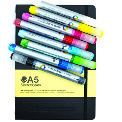 MTN WaterBased Paint Marker 3mm 8er Set & Blackbook A5 Package