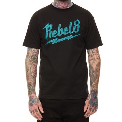 REBEL8 T-Shirt BOLTED black/turquoise