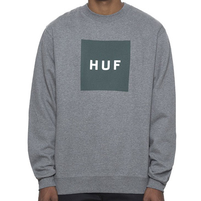 HUF Sweater BOX LOGO heather grey/green