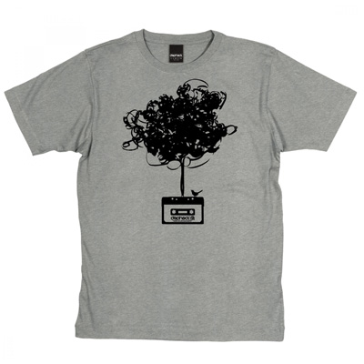 DEPHECT T-Shirt CASSETTE TREE heather grey