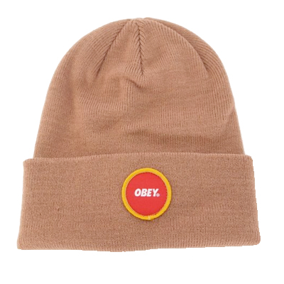 OBEY Beanie CIRCLE LOGO PATCH light brown