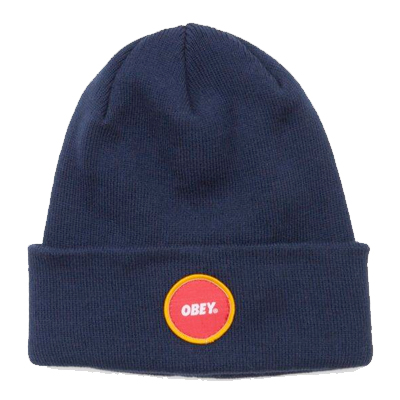 OBEY Beanie CIRCLE LOGO PATCH navy