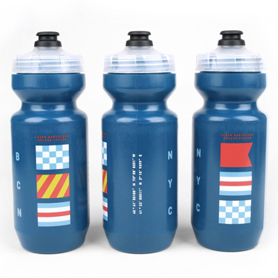 LASER Water Bottle CITY FLAGS petrol blue