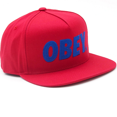 OBEY Snap Back Cap THE CITY LOGO red/blue
