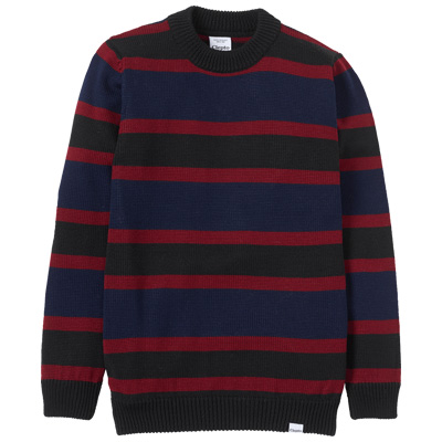 CLEPTOMANICX Knit Sweater PORT STRIPE darknavy/burgundy