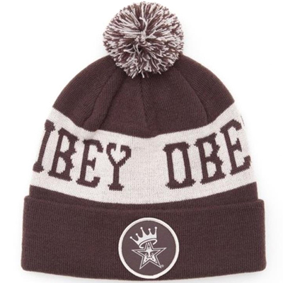 OBEY Beanie CROWNED POM POM brown/cream