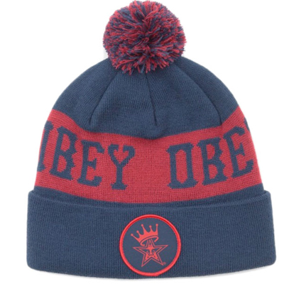 OBEY Beanie CROWNED POM POM navy/red
