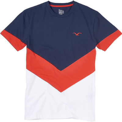 CLEPTOMANICX T-Shirt DOWNER dark navy/red/white