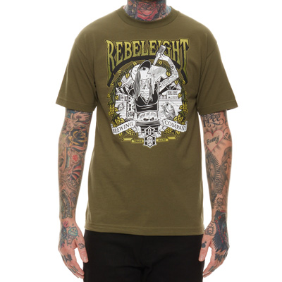 REBEL8 T-Shirt DRINK LIKE A FISH olive