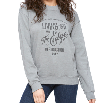 OBEY Girl Sweater EDGE OF DESTRUCTION heather stone