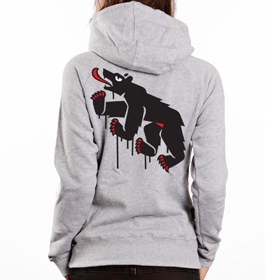 EGOKING Girl Hooded Zipper MR. BEAR heather grey